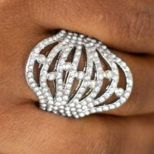 Silver Ring with Rhinestones & Stretchy Band